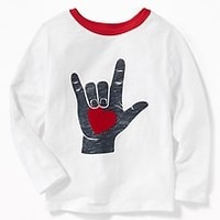 Flocked-Heart Graphic Tee for Toddler Boys|old-navy
