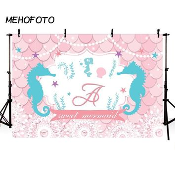 Mermaid Theme Party Photography Backdrops Baby Shower Decorates Pink Scales Birthday Banner Photo Backdrop for Decor Pictures
