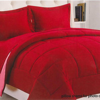 "Kate Elegance Sound Sleepers 1-Piece Full/Queen Size (86"" x 86"") Reversible Solid Comforter - Burgundy/Rose"