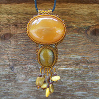 Carnelian Stone pendant beaded with tigerseye