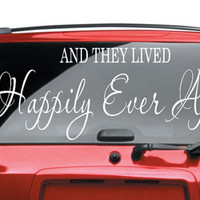 They Lived Happily Ever After Car Decal Vinyl Lettering Bumper Sticker Wedding They Lived Happily Ever After Car Decal