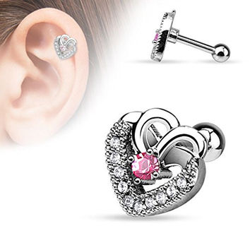 Double Hearts Paved CZ Tragus Barbell 316L Surgical Steel Cartilage Bar Helix Piercing 16g