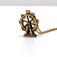 Ferris Wheel Carnival Necklace Amusement park fair playground fairground fun ride circus charm Small gold plated pewter gold plated chain