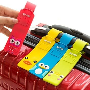 Cute Cartoon Silicone Suitcase Tags