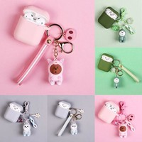 Soft Silicone Case Earphones For Apple Airpods Bluetooth Wireless Earphone Protective Skin Cover Box  Cute Animal Keychain
