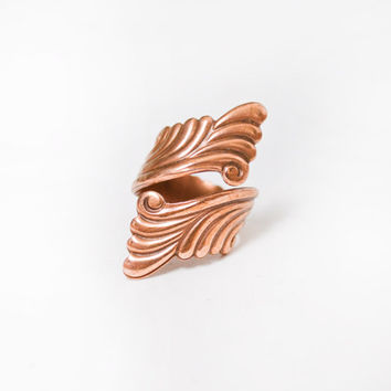 Vintage Copper Ring - 1960s Wrap Style Southwest Adjustable Bell Copper Jewelry