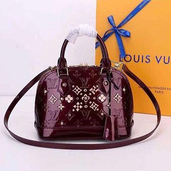 Louis Vuitton LV Popular Women Shopping Zipper Leather Tote Satchel Shoulder Bag Handbag Crossbody Wine Red I