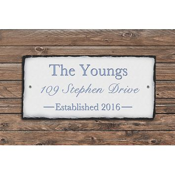 Handmade and Customizable Slate Home Address Sign - Personalize with Name, Address
