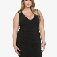 Beaded & Ruched BodyCon Dress