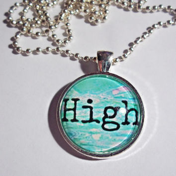 High Necklace - Stoner Necklace - pastel grunge dome necklace
