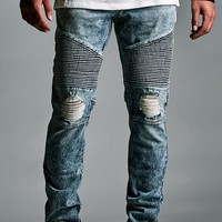 Bullhead Denim Co. Antique Light Indigo Destroyed Moto Stacked Skinny Jeans - Mens Jeans - Antique Light Indigo
