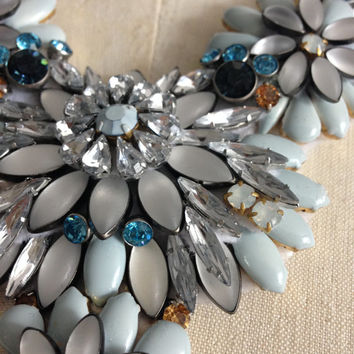Handmade Sky Blue and Crystal Floral Motif Statement Bib Necklace on Silver Chain