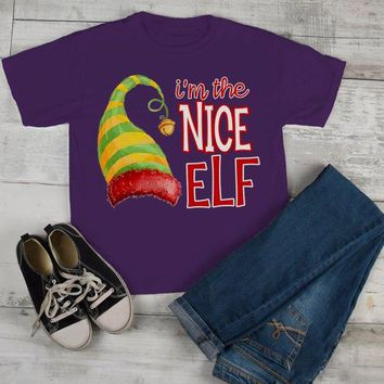 Kids Funny Elf T Shirt Nice Matching Christmas Shirts Graphic Tee Watercolor Elves Toddler Tee Girl's Boy's