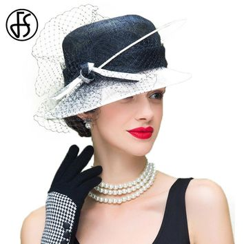 FS 2017 Summer Black And White Elegant Linen Fedora Hats With Veil For Women Ladies Floppy Wide Brim Cloche Hat
