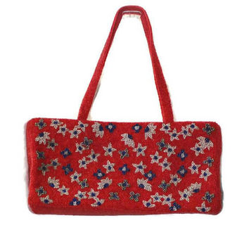 Red Beaded Handbag, With Flower Design In Blue And White