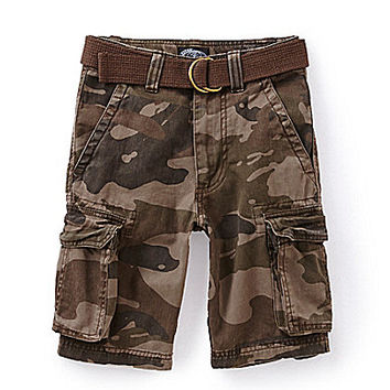 First Wave 8-20 Camo Twill Belted Cargo Shorts