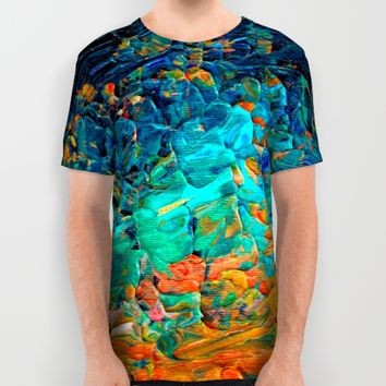 ETERNAL TIDE 2 Rainbow Ombre Ocean Waves Abstract Acrylic Painting Summer Colorful Beach Blue Orange All Over Print Shirt by EbiEmporium