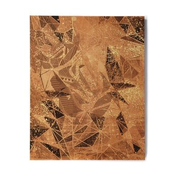 "Marianna Tankelevich ""Geometry Of Fire"" Orange Brown Mixed Media Birchwood Wall Art"