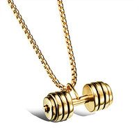 Weight Lifting Barbell Kettlebell Fitness Bodybuilding Charm Pendant Necklace for Men Dumbbell Gym Work Out Sporty Parati Weightlifting Necklace, KC Gold