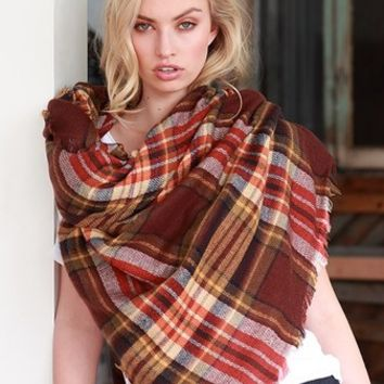 Plaid Blanket Scarf - Brick