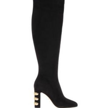 DOLCE & GABBANA Military Suede Over-The-Knee Boots