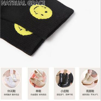 Shadow mouth Smiling Face Women's Socks For Autumn Winter,Spring Wear Popsocket Cotton Material Casual Style Female Short Socks