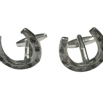 Silver Toned Textured Horse Shoe Cufflinks