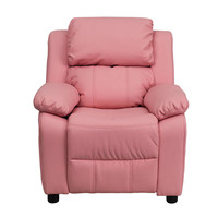 Flash Furniture Deluxe Heavily Padded Contemporary Pink Vinyl Kids Recliner with Storage Arms and Headrest