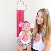 Mommy and me clothes Heart Print Short sleeved T-shirt Mother daughter dresses Family matching outfits chelsea jersey 2017