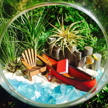 Lake Terrarium Kit ~ Canoe and Adirondack Chair ~ Hanging or Sitting Glass Terrarium ~ 3 Air Plants ~ Egret ~ Lake House Decor ~ Gift idea