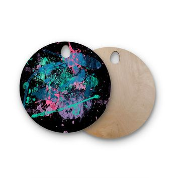 """Rosa Picnic """"Splatter-2"""" Black Blue Abstract Contemporary Painting Watercolor Round Wooden Cutting Board"""