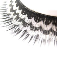 Scallop Print False Eye Lashes in Silver on Black from nailartsupplies