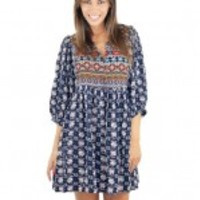 Navy Mixed Print Dress