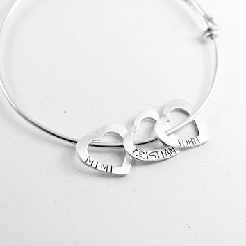 Heart Expandable Bangle Bracelet - Up to 4 hearts with names or dates