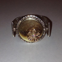 14K Opal Ring Sz 7 Gold Sterling Silver.Flower Floral Geometric Cocktail Vintage Jewelry Anniversary Holiday Gift 14KT
