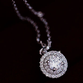 Super Shining Crystal Pendant Necklace Gift-104