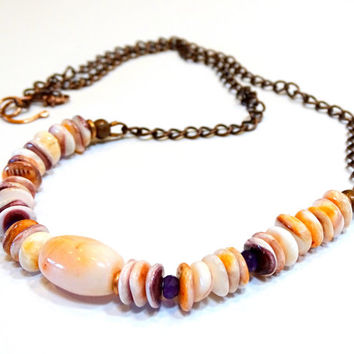 Dreamy orange,purple ,peach and cream in a spiny oyster, coral and amethyst gemstone bar necklace,antique copper chain, natural organic