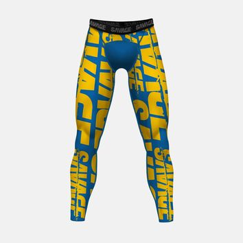 Savage Chroma Blue Yellow Tights for Men