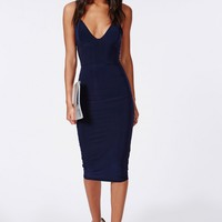 Missguided - Slinky Midi Dress Navy