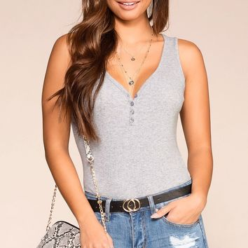 Lexa Heather Grey V-Neck Button Henley Bodysuit