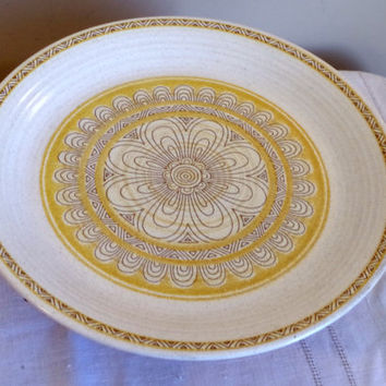 Franciscan Hacienda Dinner Plate- Earthenware California Pottery- Yellow Geometric Floral Pattern- Country Kitchen Chic