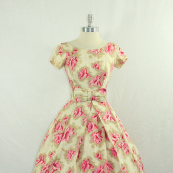 1950s Party Dress - Vintage Dress Ikat Rayon Cotton Blend Watercolor Pink Floral Print Garden Party Frock