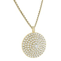 Circle Cluster Medallion Silver Solitaire 14k Gold Finish pendant