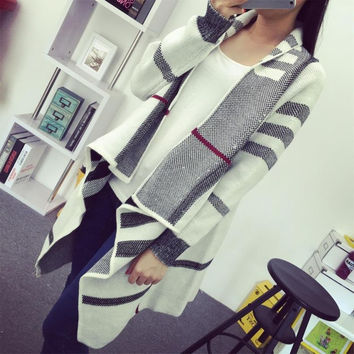 Fashion Brand Spring Knitwear Women's Clothing Long Knitting Sweaters Casual White Long Sleeve Plaid Knit Cardigan