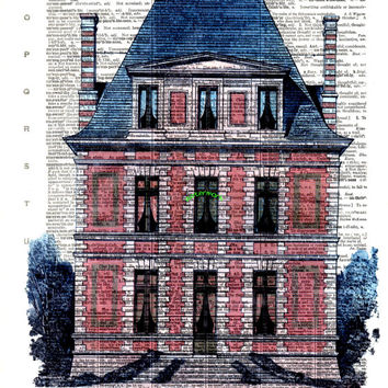 French Chateau, Home, Building - FREE SHIPPING - English Dictionary Book Page Art Print - Ready for Mat or Frame!