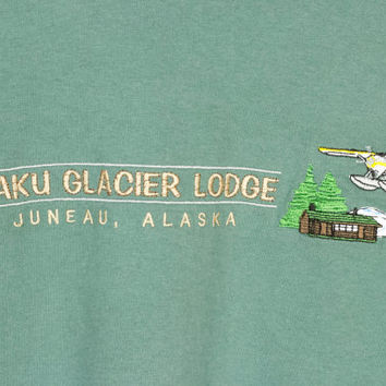 90s ALASKAN SEA PLANE tee / vintage 1990s shirt / taku glacier lodge / grizzly bear / juneau alaska / minimal / basic / outdoors nature / M