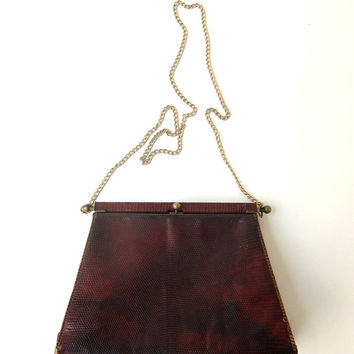 Vintage mid century Cartner of London lizard skin handbag
