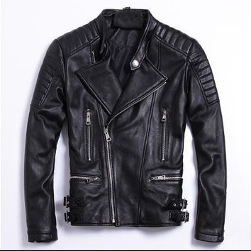 Free .simple style,Plus size Brand soft sheepskin leather Jackets men genuine Leather jacket.motorbiker slim coat,