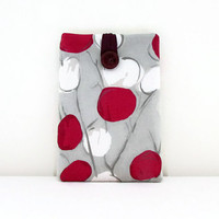 Spotty IPad Mini case, tablet cover sleeve beige white raspberry pink spotty fabric for Ipad Mini Tech lovers gift uk seller