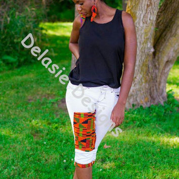Kente Embellished Jean Shorts